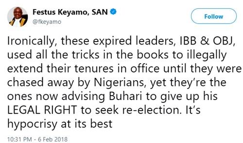 'Expired' Leaders, IBB & Obasanjo Should Stop Advising Buhari on 2nd Term - Festus Keyamo