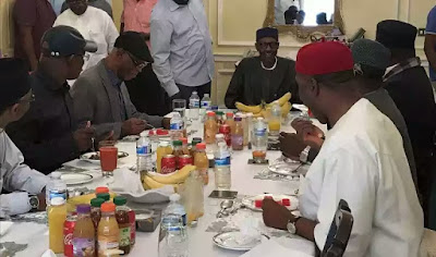 APC Governors Visits President Buhari In London… And He's Looking Healthy! [See Photo]