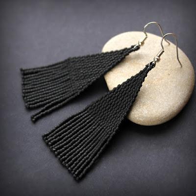 купить черные длинные серьги из бисера бижутерия в готическом стиле