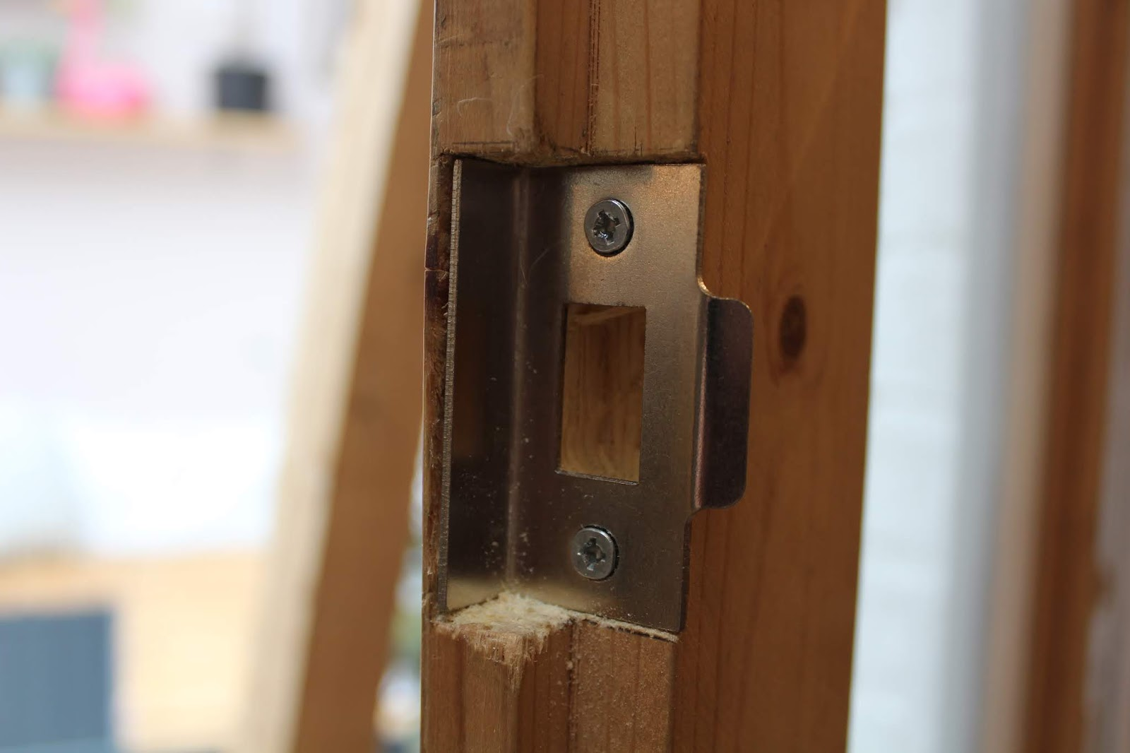 rebated strike plate on door