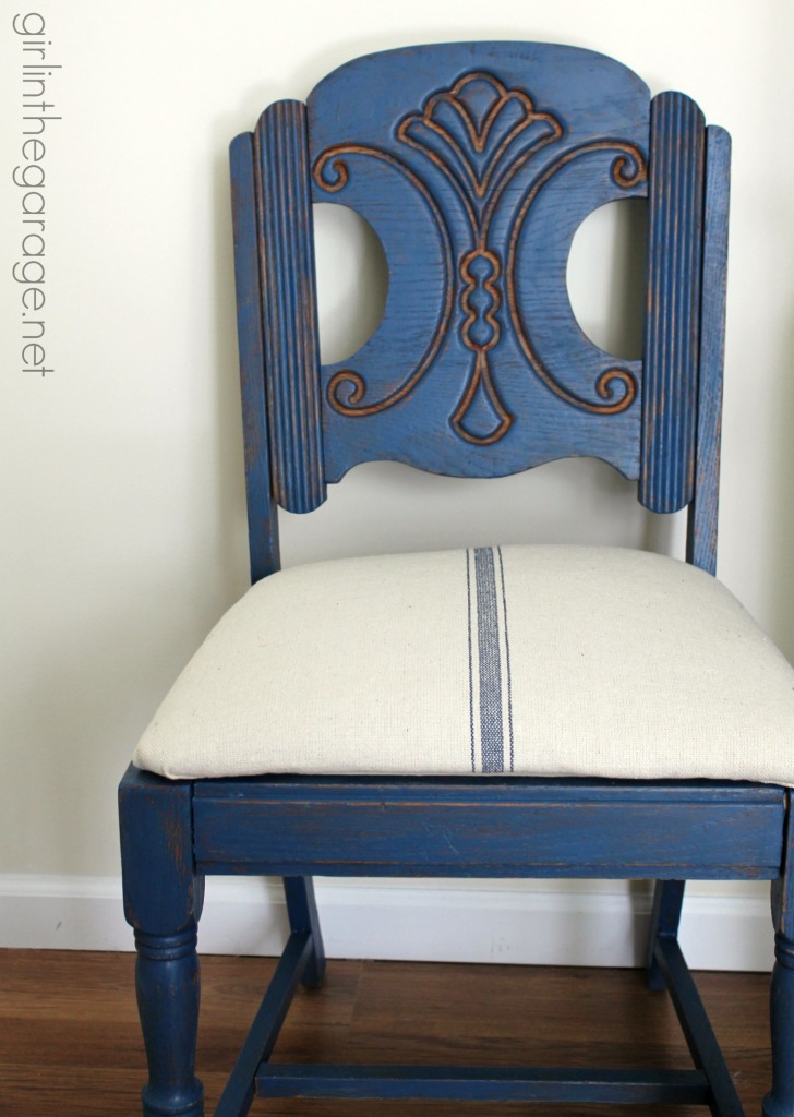 Blue Grain Sack Chair Makeover By Girl In The Garage