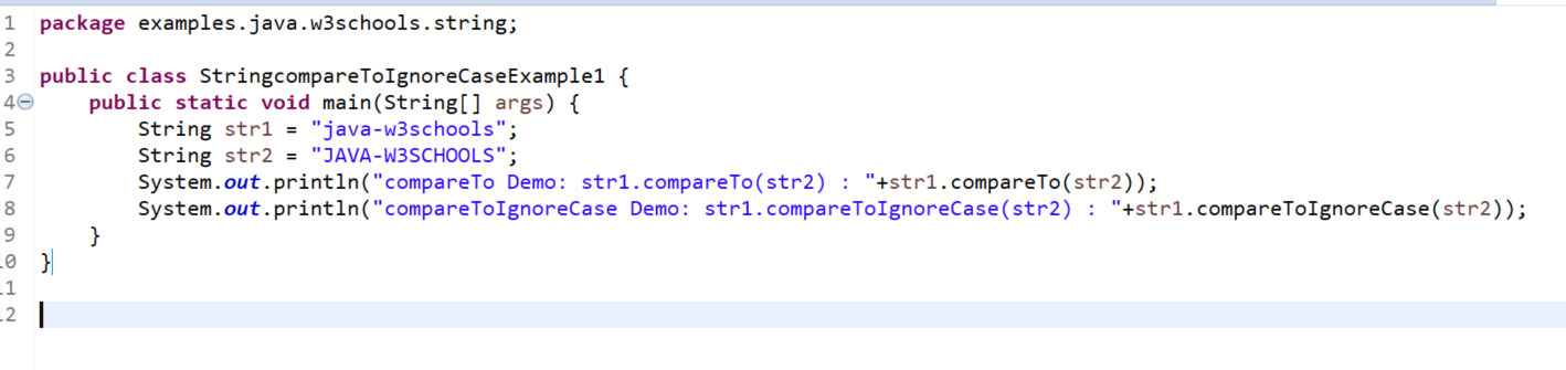 Java String compareToIgnoreCase() example 1