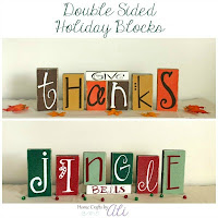 Give Thanks and Jingle Bells Reversible Decor Blocks