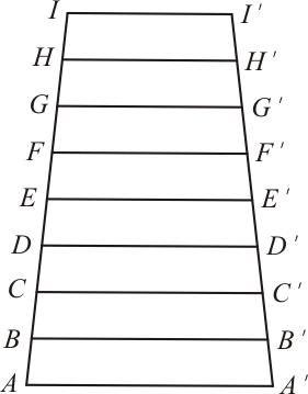 Aplicação da base média do trapézio em uma escada 9 degraus