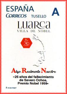 Filatelia, sello personalizado, Severo Ochoa, Luarca, fallecimiento