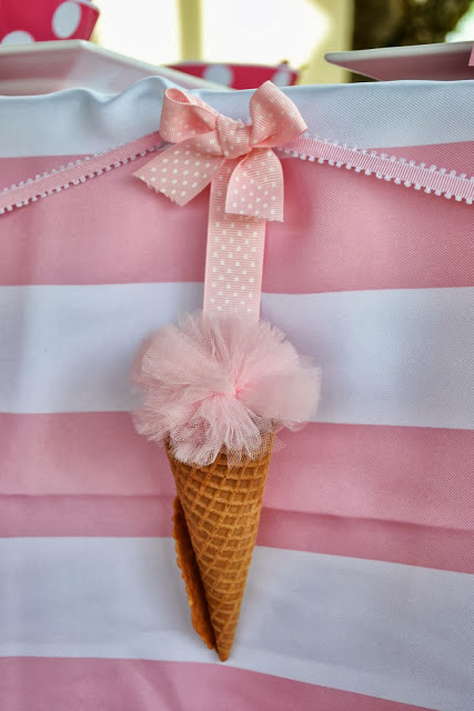 Pink Tulle Ice Cream Decorations