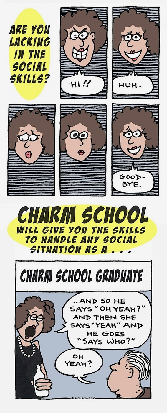 Charm School advertisement parody, etiquette cartoon