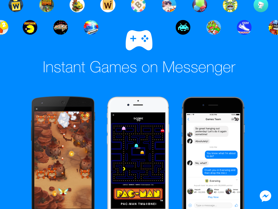 Facebook lancia Instant Games per sfidare gli amici in Chat con PAC-MAN ed altro | Video HTNovo