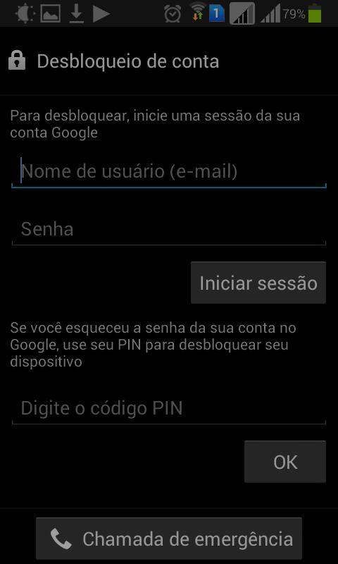 Desbloqueio do celular via PIN