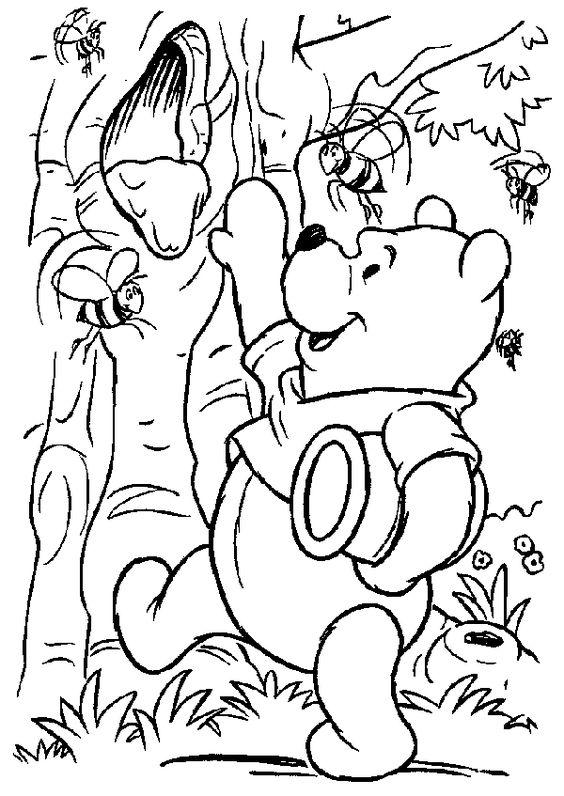 Tranh cho bé tô màu gấu Pooh 39