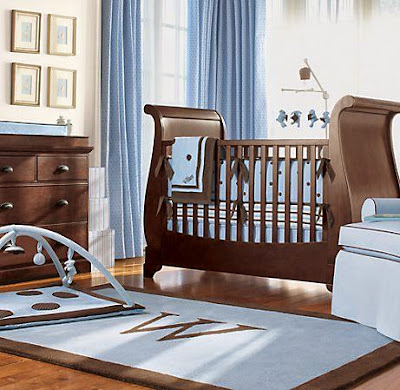 Decorar el Cuarto del Bebé de color Marrón y Celeste