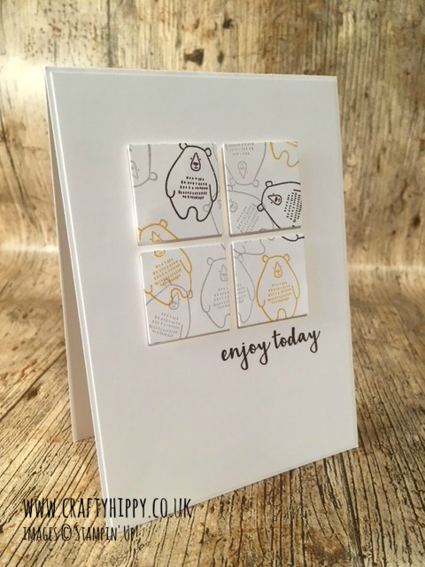 How to create this gorgeous Pieces & Patterns Bear Card by Stampin' Up! Follow this Stampin' Up! Demonstrator in the UK.