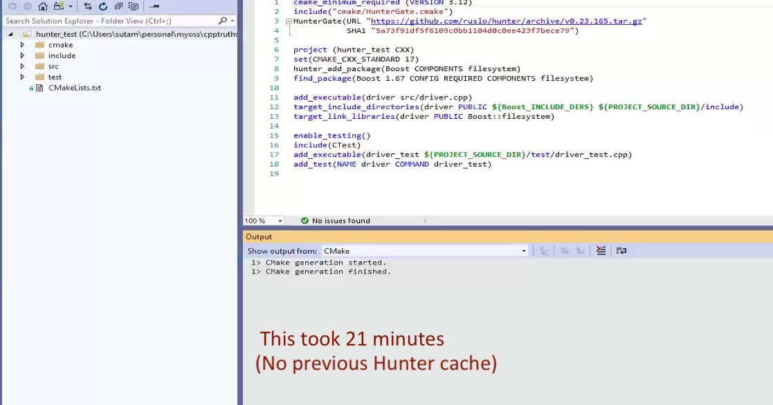 Bootstrapping a cmake project based on Hunter in Linux and
