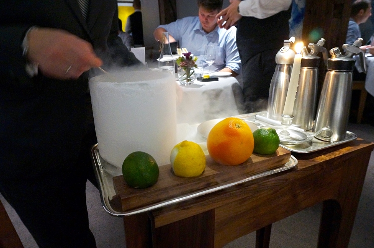 Euriental | dinner at the Fat Duck, Bray, by Heston Blumenthal. Creation of the nitro poached aperitif.