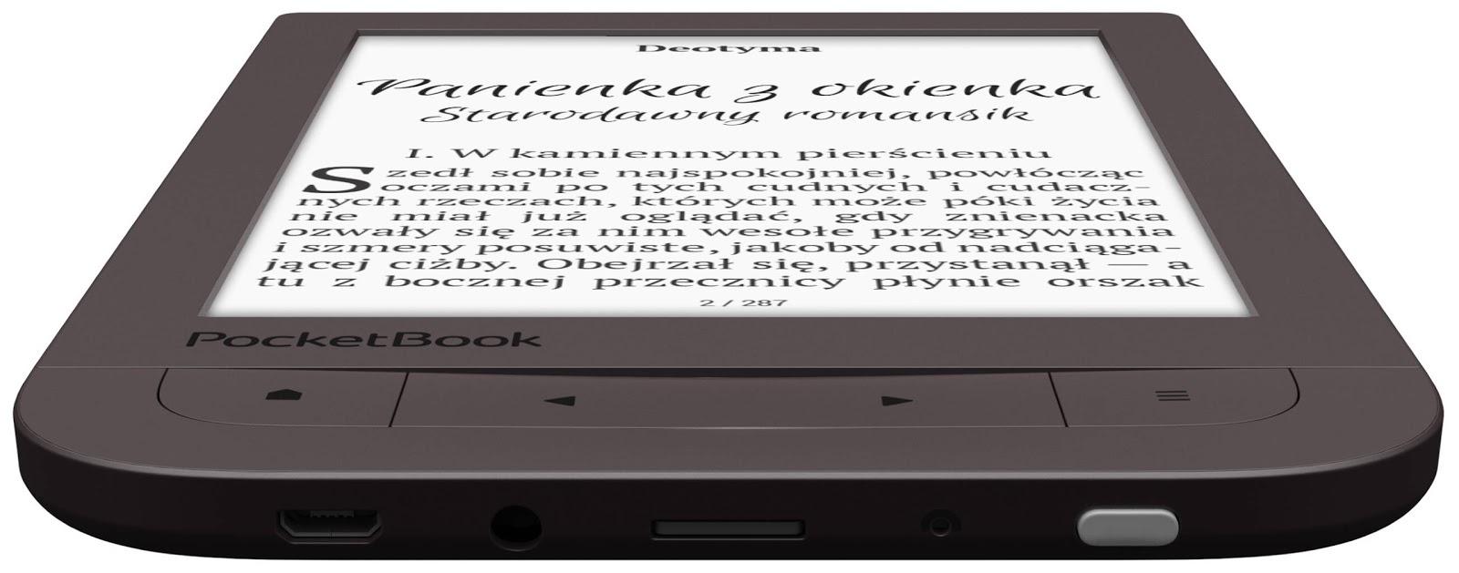 widok na dolną krawędź ramki obudowy czytnika PocketBook Touch HD 2
