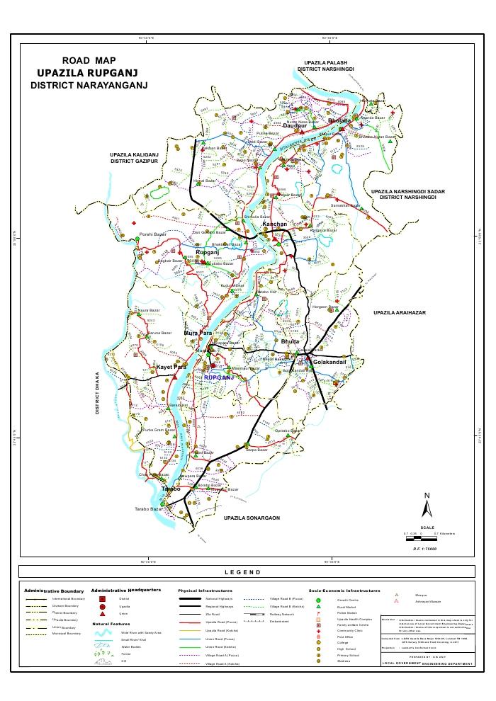 Rupganj Upazila Road Map Narayanganj District Bangladesh