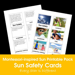 Montessori-inspired Sun Printable Pack: Sun Safety Cards