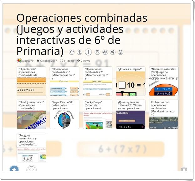 """""""11 Juegos y actividades interactivas para la práctica de las OPERACIONES COMBINADAS en 6º de Primaria"""""""