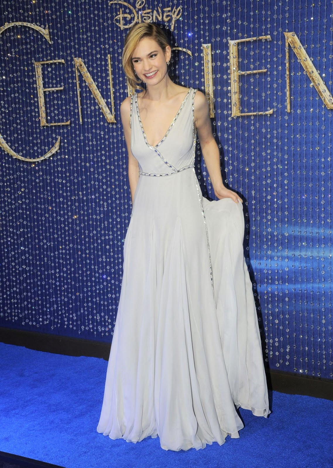 Lily James in a plunging Prada gown at the 'Cinderella' Mexico City premiere
