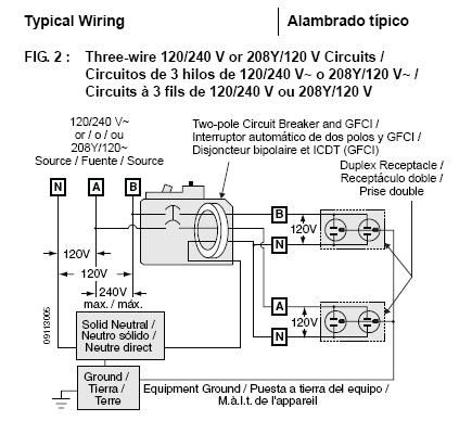 electrical and electronics engineering 220 volt gfci wiring