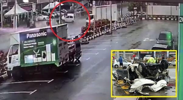 (15 Gambar & Video) Tiga Pelajar Maut, Kereta Dinaiki Terbalik