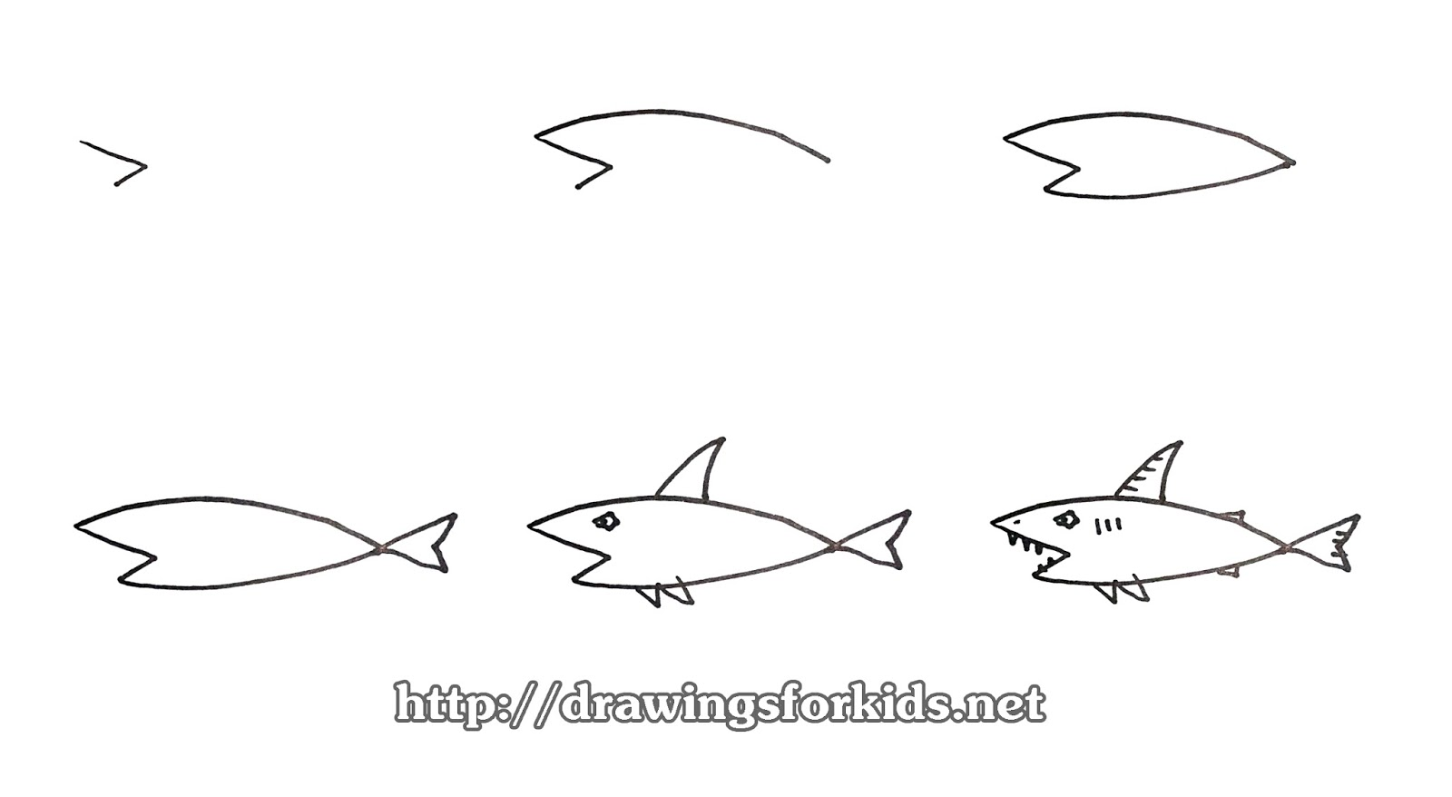 How To Draw A Shark For Kids Drawingsforkids Net