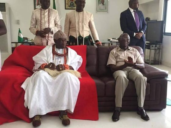 Olu of Warri pay a courtesy visit to governor, Adams Oshiomole in Benin city