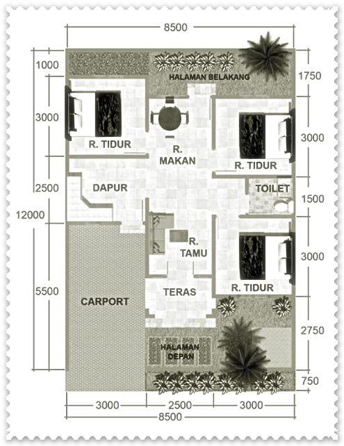 gambar denah rumah minimalis 3 kamar tidur type 36