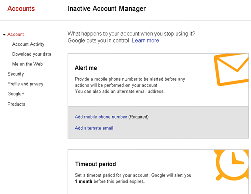 Inactive Account Manager - Account Settings