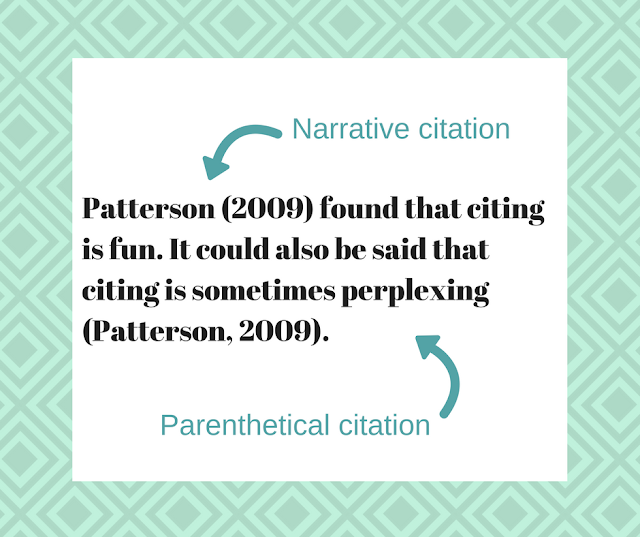 Patterson (2009) is an example of a narrative citation. Whereas, (Patternson, 2009) is an example of a parenthetical citation.