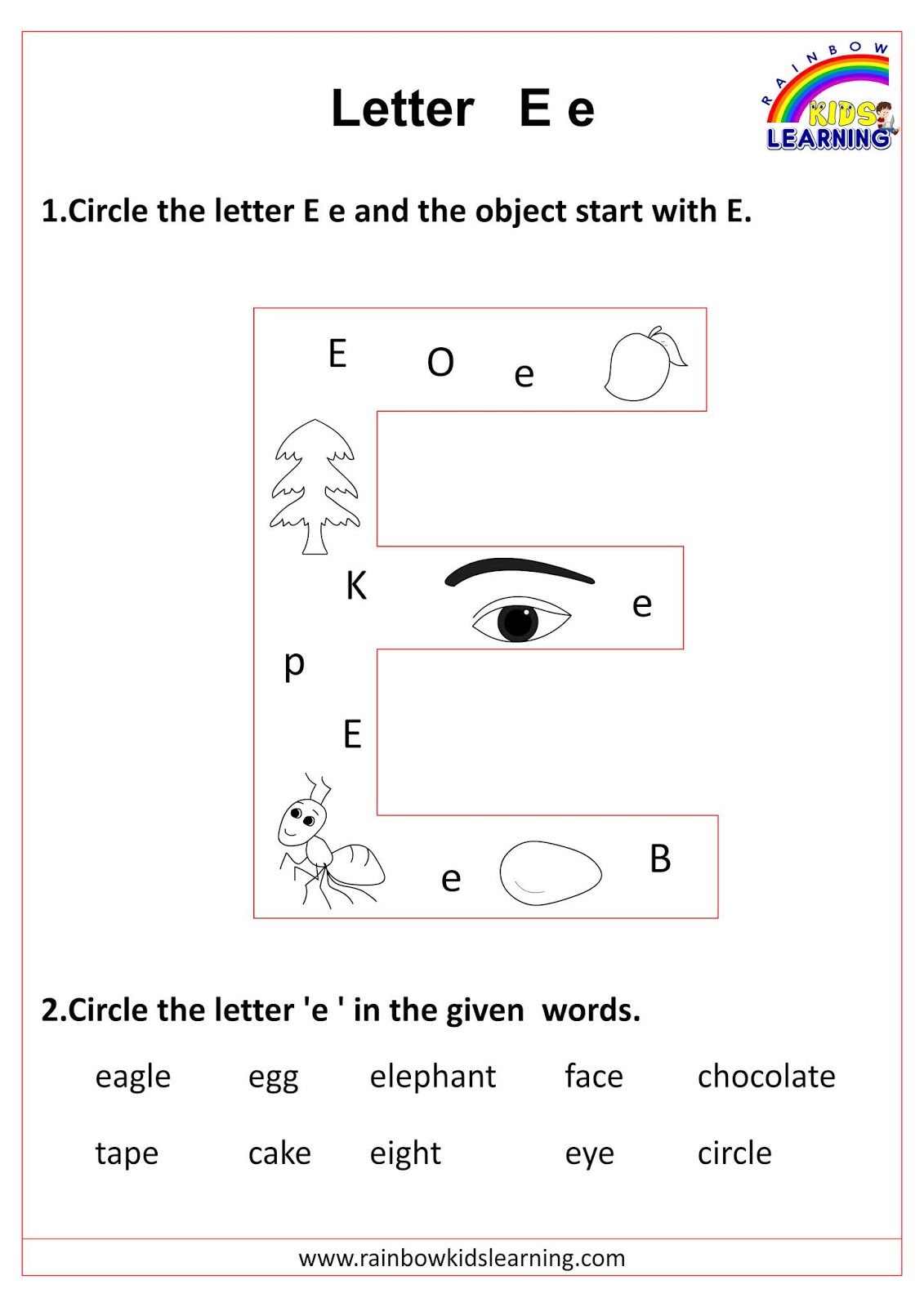 Identify The Letter And Circle Them