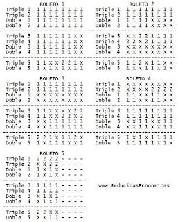 1X2 - Pronostico de Quiniela Reducida de 5 Triples y 5 Dobles al 13 por 36 Apuestas