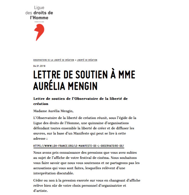 Aurélia Mengin soutien de la Ligue des droits de l'Homme