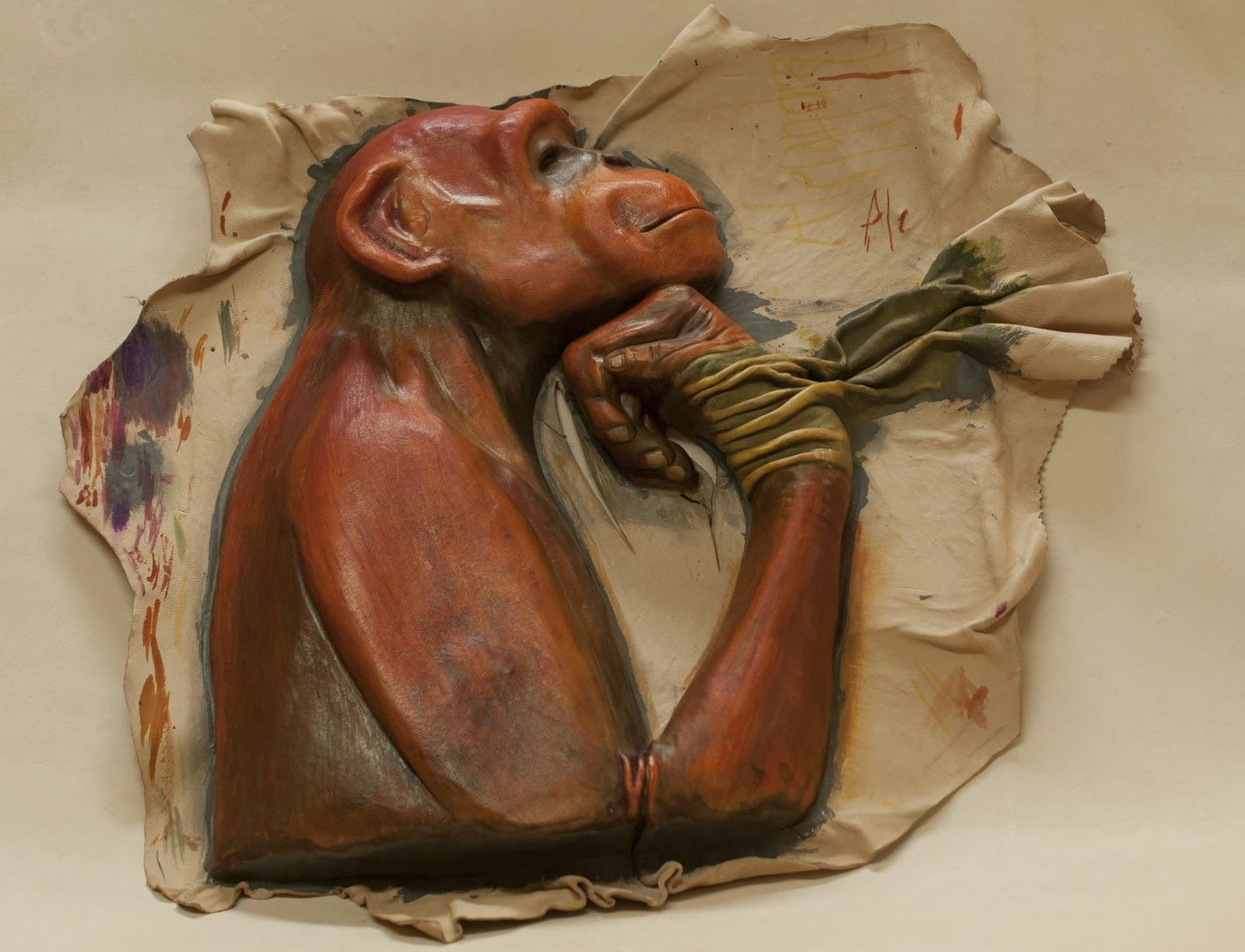 fd40f14e9 Indicador de la Sala de los Simios, Museo de Ciencias Naturales Realizada  con piel de badana curtida al tanino y teñida con tintes químicos