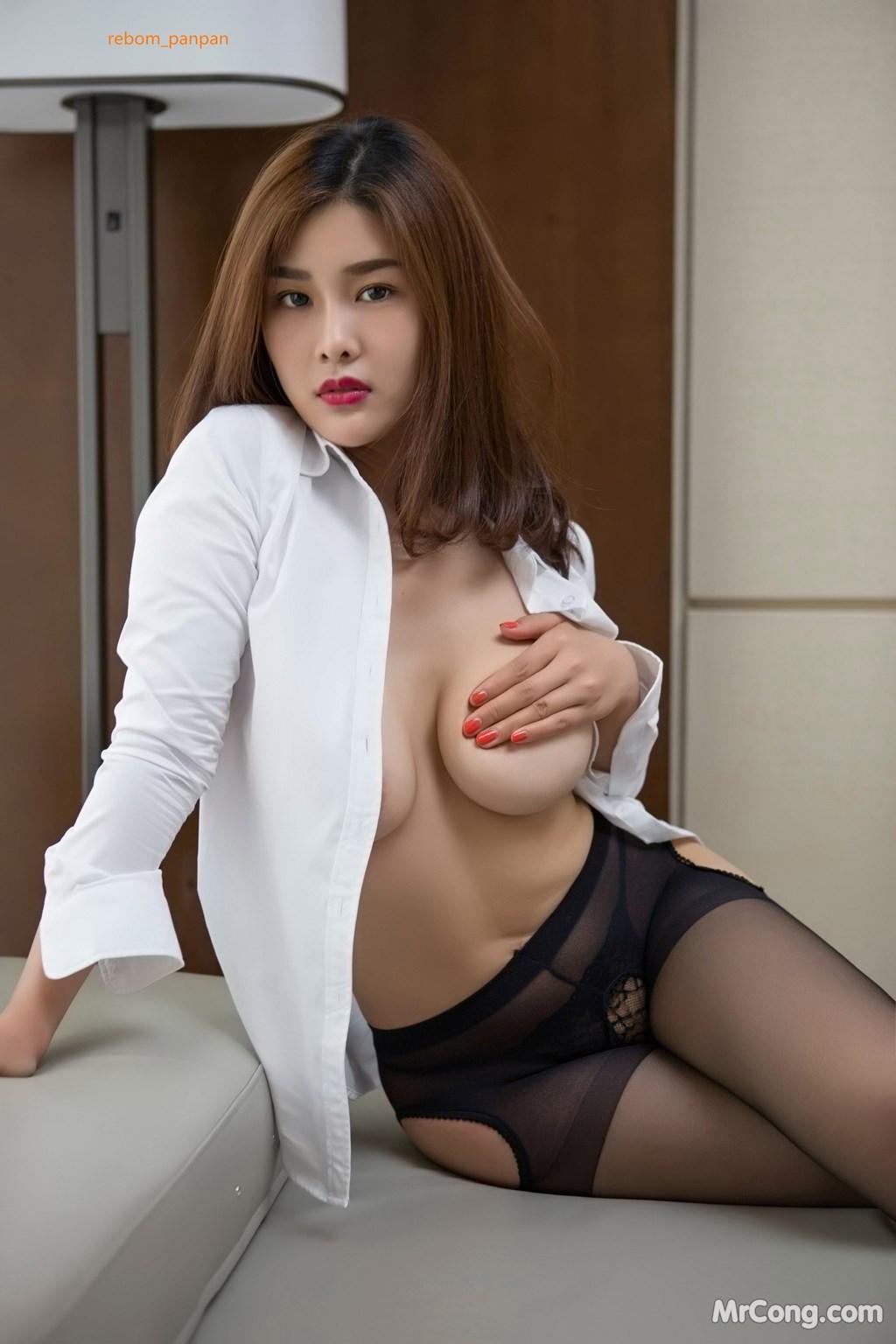 Image Yan-Pan-Pan-Part-4-MrCong.com-033 in post Người đẹp Yan Pan Pan (闫盼盼) hờ hững khoe vòng một trên giường ngủ (40 ảnh)