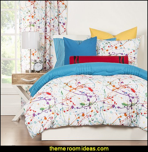 Crayola Splat  Comforter Set splatter theme bedroom decorating ideas