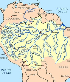 Amazon river basin map.