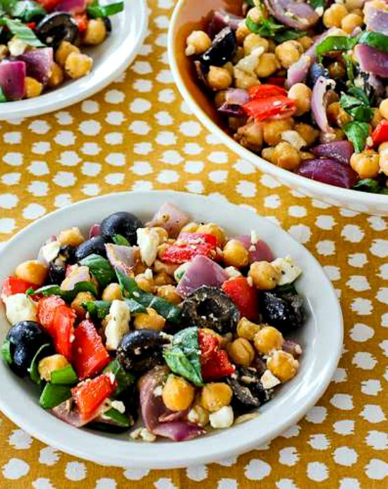 Roasted Garbanzo and Vegetable Salad Recipe with Garlic, Feta, Olives, and Basil found on KalynsKitchen.com