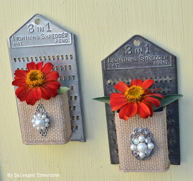 Flower containers made from cheese graters, pepper cans, burlap and jewelry