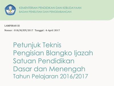 Juknis Penulisan Blangko Ijazah 2017 Lengkap