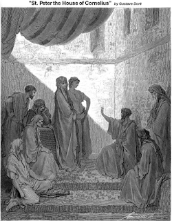 Peter in the house of Cornelius - by Gustave Dore