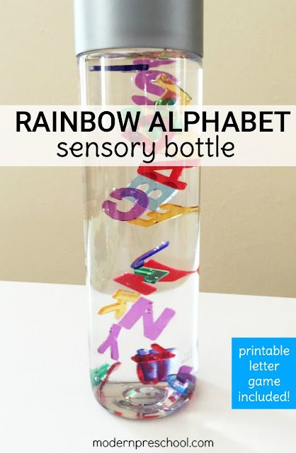 Practice letter identification, colors & counting with this super simple Rainbow Alphabet Letter Sensory Bottle!  FREE printable letter matching game included.