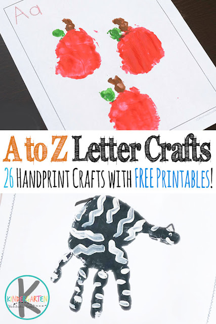 A to Z Alphabet Handprint Crafts