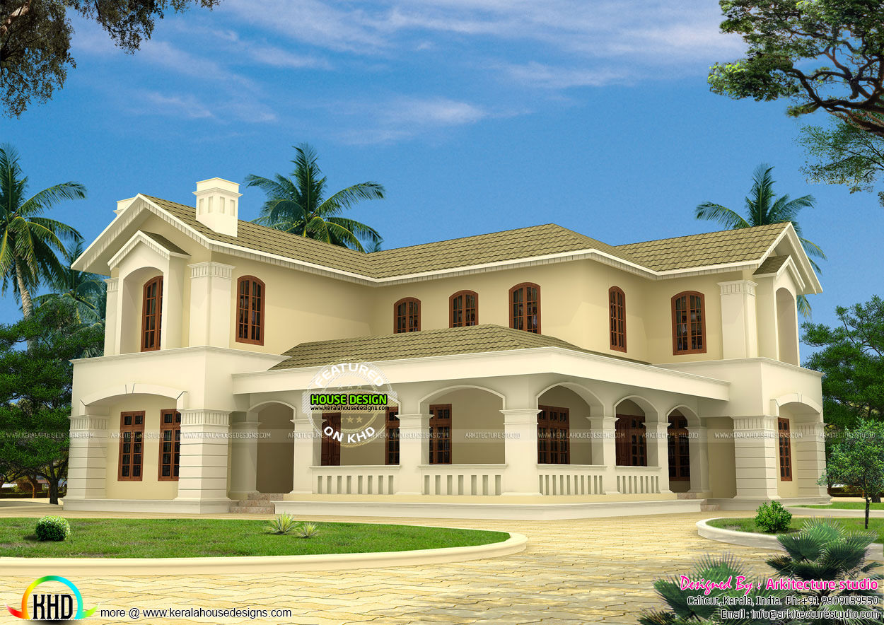 Sloping roof colonial style house kerala home design and for Colonial style house plans kerala
