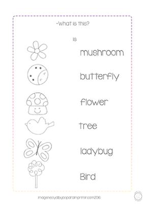 ficha de Inglés para imprimir de naturaleza