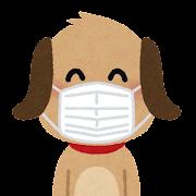 マスクを付けた犬のキャラクター