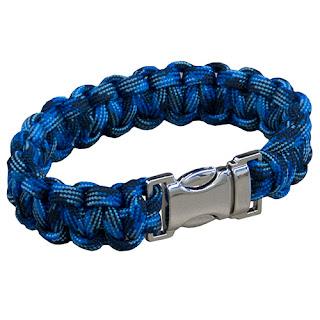 Navy Camo Bracelet with Spring-Release Designer Metal Buckle
