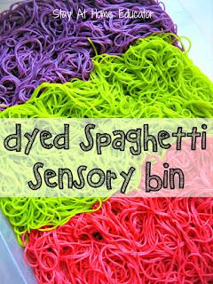 pasta sensory bin. spaghetti sensory play, noodle sensory play