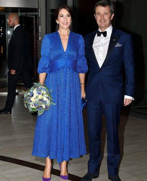Princess Marie wore Raquel Diniz Armonia Silk-Georgette Dress and Jimmy Choo sandals. Margrethe, Crown Princess Mary, Princess Benedikte