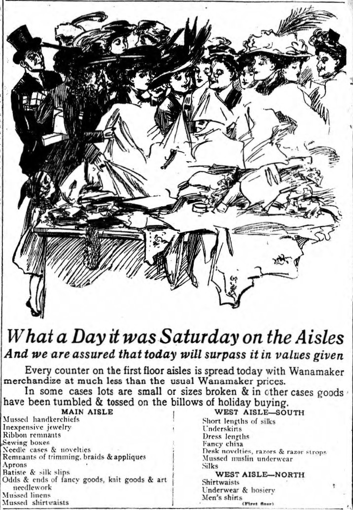 wanamakers after christmas sales ad inquirer 28 dec 1908 - Day After Christmas Ads